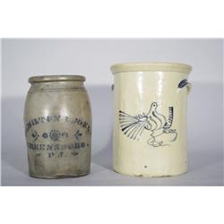 Two Stoneware Crocks with Cobalt Glaze Decoration,