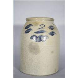 A 2 Gallon Stoneware Crock with Cobalt Glaze Decoration,