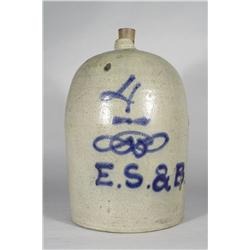 A 4 Gallon Stoneware Jug with Cobalt Glaze Decoration,