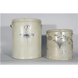 Two Stoneware Crocks with Cobalt Decoration,