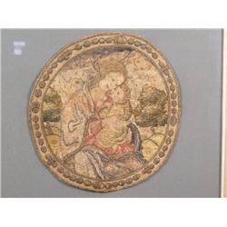 A Silk and Gilt Thread Needlepoint Embroidered Cope Fragment Depicting Virgin Mary and Child in a La