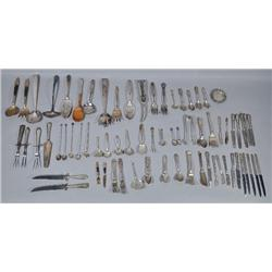 A Miscellaneous Collection of Sterling and Silver Plate Flatware.