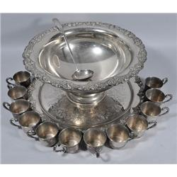 A Silver Plated Punch Bowl Set with Tray.