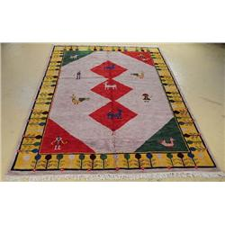 An Indo Persian Gabbeh Wool Rug.
