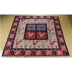 A Sino Caucasian Soumak Wool Rug.