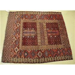 An Antique Turkoman Insi Door Wool Rug.