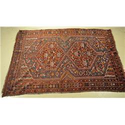 An Antique Shiraz Shirvan Wool Rug.