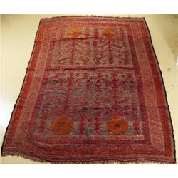 An Antique Uzbek Soumak Wool Rug,