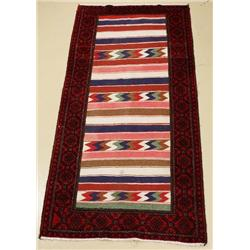 A Persian Baluch with Kilim Weave Wool Rug.