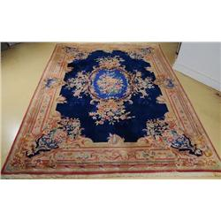 A Semi Antique Sino Savonnerie Wool Rug.