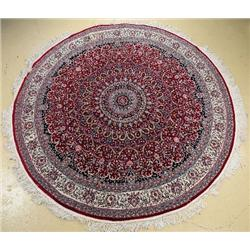 A Sino Persian Isfahan Round Wool Rug.