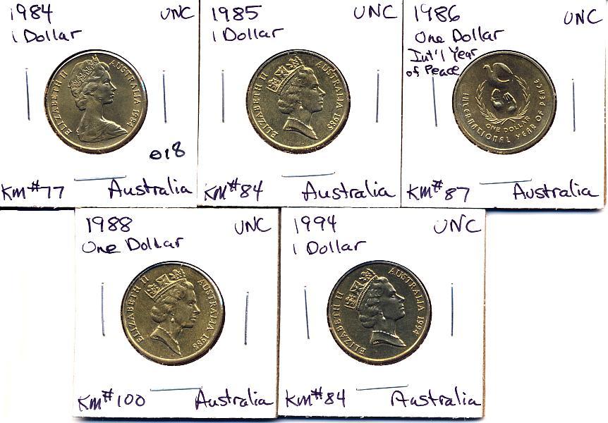 (5) 1984, 85, 86, 88, 94 AUSTRALIAN DOLLARS-ALL UNC