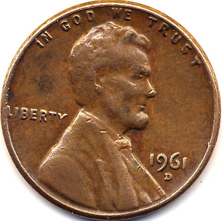 error 1961-d lincoln small cent double die reverse double struck reverse