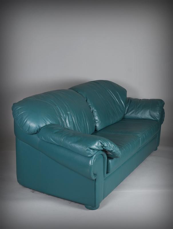 Natuzzi Turquoise Italian Leather Sofa