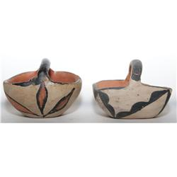 two Santa Domingo pottery baskets