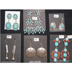six pairs of earrings