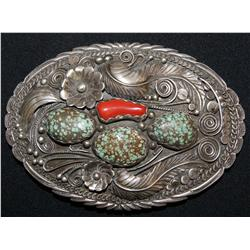 Navajo silver belt buckle