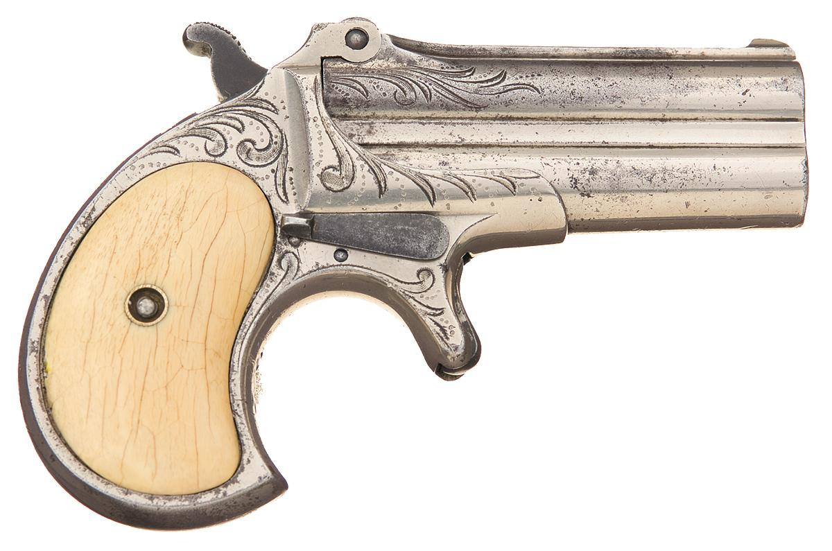 Factory Engraved Remington Over/Under Double Barrel Derringer with Ivory  Grips