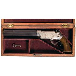 Magnificent Factory Cased and Engraved Volcanic Lever Action Navy Pistol