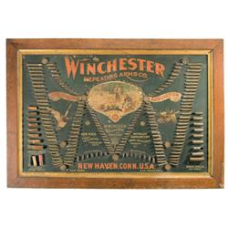 Scarce and Desirable Framed Winchester Double W Cartridge Display Board