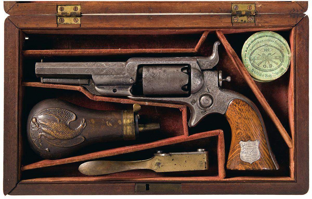 Colonel Samuel Colt Presentation Cased And Deluxe Factory Engraved Colt Model 1855 Sidehammer Revolv