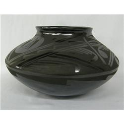 Mata Ortiz Black on Black Pottery Bowl