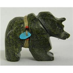 Zuni Serpentine Bear Fetish Signed