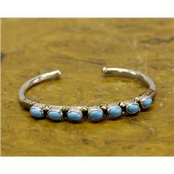 Navajo Silver Turquoise Cuff Bracelet
