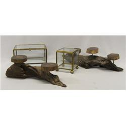 Two Driftwood Displays & Two Glass Displays