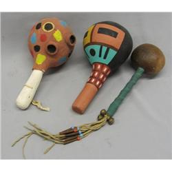3 Vintage Hopi Rattles