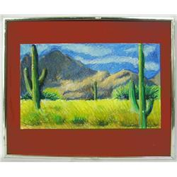 Original Arizona Saguaro Pastel By Hyde