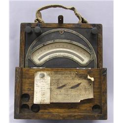 Antique Volt Meter In Wooden Box