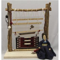 Vintage Navajo Weaver Doll & Loom