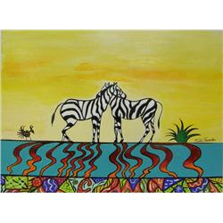 Original Indian Painting Zebras By Kills Thunder