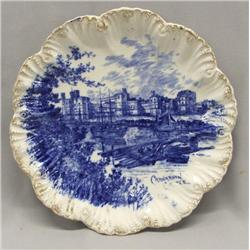 Antique English Flow Blue Plate - Carvarvan Castle