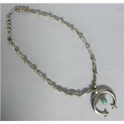 Navajo Silver Turquoise Naja Necklace