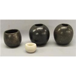 4 Vintage Santa Clara Micaceous Clay Pots