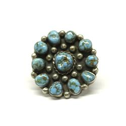 Vintage Navajo Silver Turquoise Cluster Ring