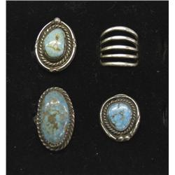 4 Navajo Sterling Silver Turquoise Rings