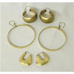 3 Pair 14K Gold Hoop Earrings for Pierced Ears