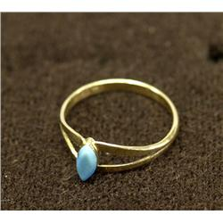 Navajo 14Kt Yellow Gold Turquoise Ring Size 6.25