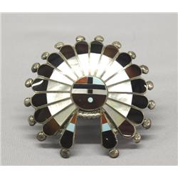 Zuni Sunface Channel Inlay Silver Belt Buckle