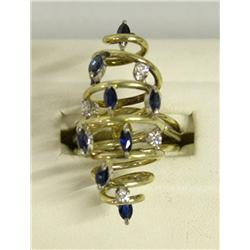 14Kt Gold Dinner Ring With Sapphires & Diamonds