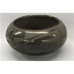Vintage San Ildefonso Black Pottery Bowl