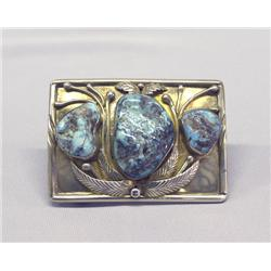 Vintage Navajo Silver Turquoise Belt Buckle