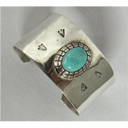 Navajo Silver Turquoise Bracelet Hallmark LS