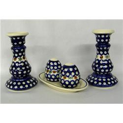 3 Vintage Polish Pottery S&P Set, Candle Holders