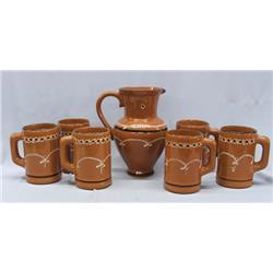 Mexican Chocolate Set, 6 Ceramic Mugs & Pitcher