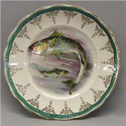 Antique Sterling Poracelain Fish Plate