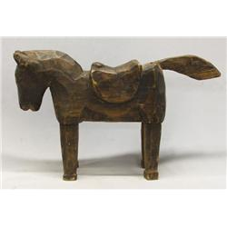 Hand Carved Folk Art Wooden Horse